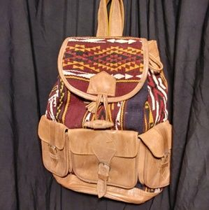 Handmade Serape leather backpack